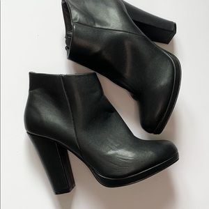 Call It Spring Heeled Ankle Boots  Leather Like